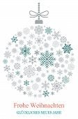 Christmas Bauble Vector With Snowflakes, Silver Hanger And German Christmas Greetings On White Backg poster