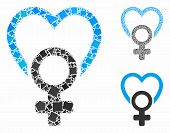 Female Love Mosaic Of Irregular Items In Various Sizes And Shades, Based On Female Love Icon. Vector poster