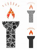Fire Torch Light Mosaic Of Bumpy Items In Various Sizes And Color Hues, Based On Fire Torch Light Ic poster