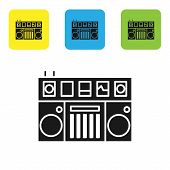 Black Dj Remote For Playing And Mixing Music Icon Isolated On White Background. Dj Mixer Complete Wi poster
