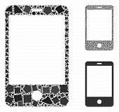 Smartphone Mosaic Of Raggy Pieces In Variable Sizes And Color Hues, Based On Smartphone Icon. Vector poster