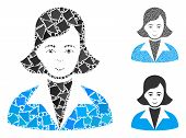 Lady Mosaic Of Unequal Items In Variable Sizes And Color Tints, Based On Lady Icon. Vector Unequal P poster