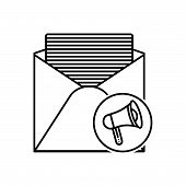 Black Line Icon For  Email-marketing Email Marketing  Social-media  Technology poster