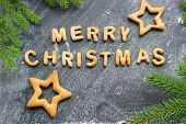 Baked Letters Merry Christmas, Stars, Snowflakes.greeting Card With Gingerbread. Christmas Card Made poster