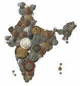 stock photo of indian currency  - Indian country map created with old new and vintage india currency coins - JPG