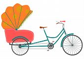 picture of rickshaw  - Rickshaw in a retro style on a white background - JPG
