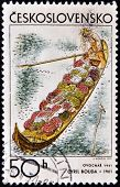 A stamp printed in Czechoslovakia shows fruit grower�s barge by Cyril Bouda