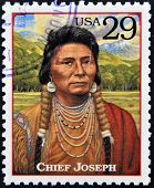 Stamp printed in USA shows Chief Joseph humanitarian and peacemaker in old West