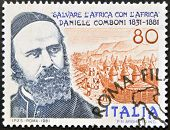 A stamp printed in Italy shows Daniel Comboni missionary save Africa with Africa