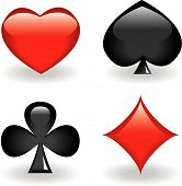 pic of playing card  - Four glossy icons of suits - JPG