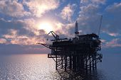 stock photo of rework  - Petrochemical tower on the background of the sea - JPG