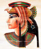 pic of cleopatra  - photo of the old egyptian papyrus painting - JPG