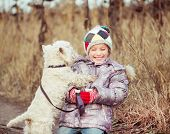 picture of westie  - little cute girl with her dog breed White Terrier  in a field in autumn - JPG