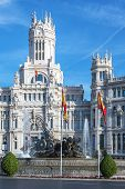 stock photo of neo-classic  - Cibeles Palace at the Plaza de Cibeles in Madrid Spain - JPG