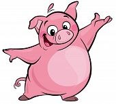 pic of piglet  - Cartoon smiling pink pig character making a presentation gesture - JPG