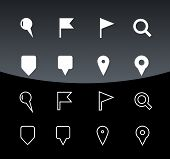 GPS and Navigation icons on black background.