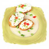 pic of hardtack  - Sandwiches with cottage cheese and greens on plate isolated on white - JPG