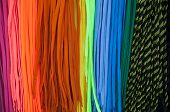 picture of end rainbow  - Colorful shoe laces bright close up background photo - JPG