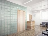 stock photo of reception-area  - Office Entrance Area interior with reception counter  - JPG