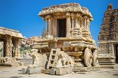 stock photo of chariot  - Chariot and Vittala temple at Hampi - JPG