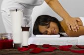 stock photo of deep-tissue  - young African American client getting a massage