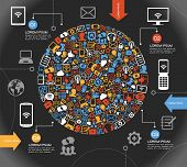 A modern set of infographics and icons Social Media. Abstract infographics design with paper numbere