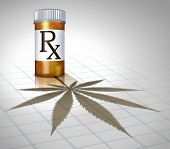 image of medical marijuana  - Medical marijuana health care concept with a prescription pharmacy medicine bottle casting a shadow in the shape of a cannabis leaf as a metaphor for alternative therapy as natural herbal drug use - JPG