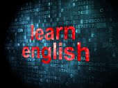 Education concept: Learn English on digital background