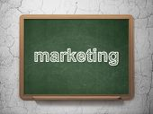 Advertising concept: Marketing on chalkboard background