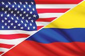 Series Of Ruffled Flags. Usa And Republic Of Colombia.