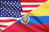 Series Of Ruffled Flags. Usa And Republic Of Ecuador.