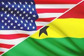 Series Of Ruffled Flags. Usa And Republic Of Ghana.