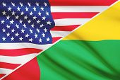 Series Of Ruffled Flags. Usa And Republic Of Guinea-bissau.