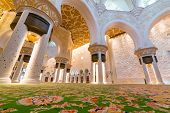 ABU DHABI, UAE - MARCH 26: Interior of Sheikh Zayed Grand Mosque in Abu Dhabi on March 26, 2014, UAE