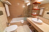 ABU DHABI, UAE - MARCH 25: Luxury bathroom of City Seasons Al Hamra Hotel in Abu Dhabi on 25 March 2