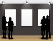 picture of exposition  - Peoples Silhouettes Looking on the Empty Frame in Art Gallery for Images and Advertisement - JPG