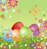 Easter greeting card with colorful eggs. Raster copy