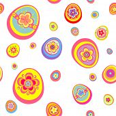 Easter wallpaper with colorful funny eggs. Raster copy