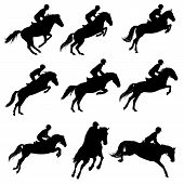 foto of horse-riders  - Set of a jumping horse with rider silhouettes - JPG