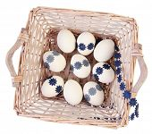 white easter eggs in basket