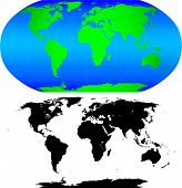 Shape of the Earth continents. Detailed world map silhouette.