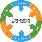 stock photo of mentoring  - Professional Development Word Circle Concept with great terms such as learning mentoring practice and more - JPG