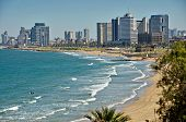 image of israel people  - The Tel Aviv Israel sky line and the Mediterranean beach from Jaffa - JPG