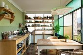 comfortable kitchen, interior of a nice loft