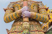image of gatekeeper  - Giant gate protector in Bangkok Grand Palace Wat Phra Kaeo Bangkok Thailand   - JPG