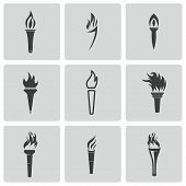 stock photo of torches  - Vector black torch icons set on white background - JPG
