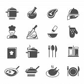 stock photo of chef knife  - Cooking kitchen and restaurant icons set with utensil chef and food isolated vector illustration - JPG