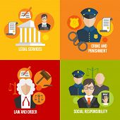 stock photo of law order  - Legal services crime and punishment law and order social responsibility icons set isolated vector illustration - JPG