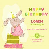 Baby Bunny Birthday Card - invitation, congratulation -  in vector