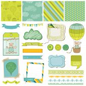 Scrapbook Design Elements - Baby Bear with Air Balloon - in vector